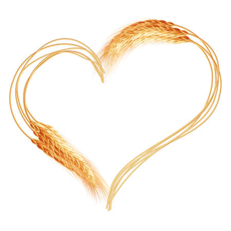 Wheat ears Heart isolated on the white background.  Illustration