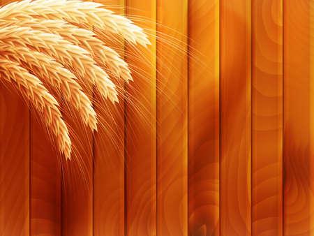 Wheat on wooden autumn background.   Vector