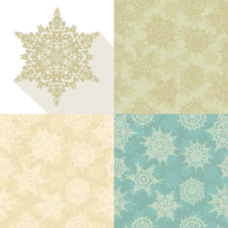 Christmas retro snowflakes seamless pattern set.   Vector