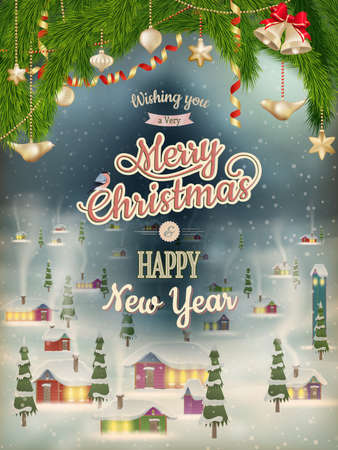 Christmas Poster with village.   Vector
