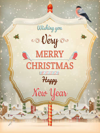 Christmas greeting Calligraphy - Vintage street with Signboard.
