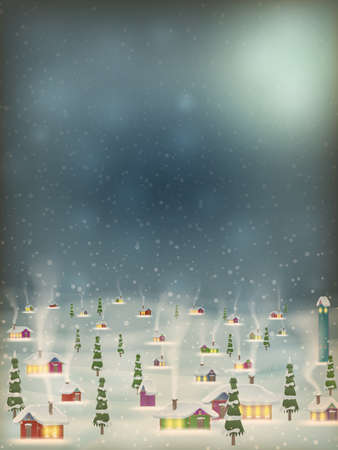 Merry Christmas retro postcard village background. Perfectly approaches for flash.   Vector