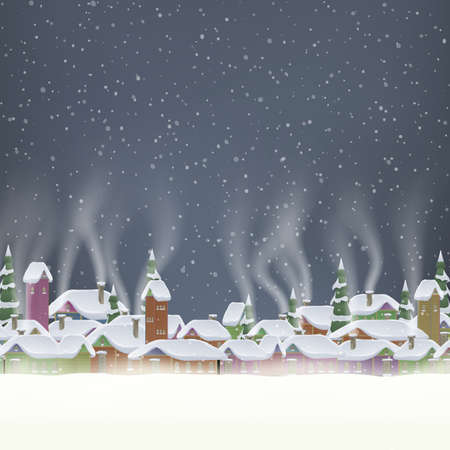 Merry Christmas retro postcard village background. Perfectly approaches for flash. EPS 10 vector file included Vector