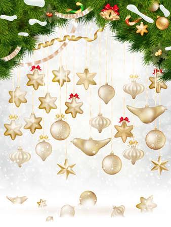 glitzy: Christmas balls hanging on fir tree.