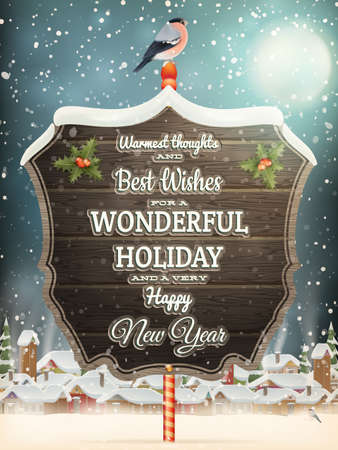 winter scene: Christmas greeting Calligraphy - Vintage street with Signboard.    Illustration