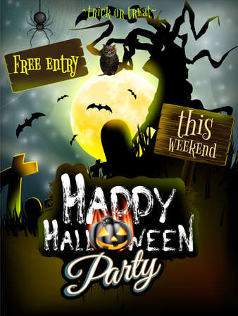 halloween poster: Halloween night background with haunted house and full moon.   Illustration