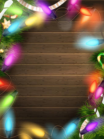 Holidays illustration with Christmas decor.   Vector