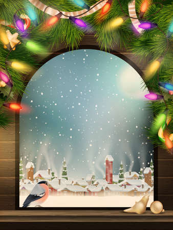 Christmas Theme - Window with a kind on winter village.    Vector