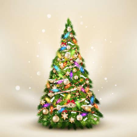 De spar van Kerstmis op elegante beige.
