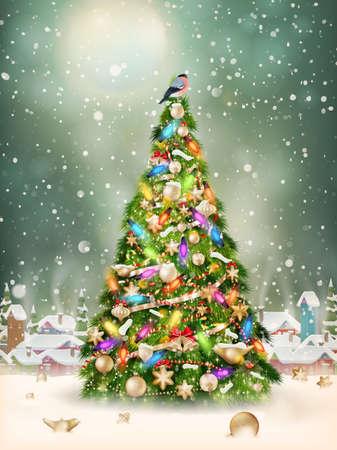 natale: Scena di Natale, nevicata coperto piccolo villaggio con albero.