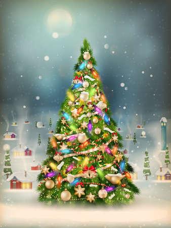 cartoon christmas tree: Christmas scene, snowfall covered little village with tree.    Illustration