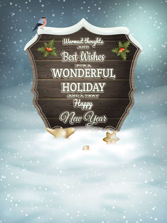 Christmas vintage greeting card on winter landscape. EPS 10 vector file included Vector