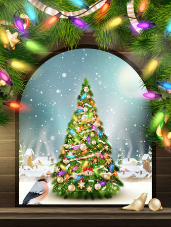 wall decor: Christmas Theme - Window with a kind on winter village.   Illustration