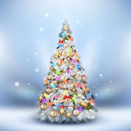 Christmas Frost fir tree on light blue. EPS 10 vector file included