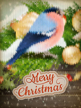 stockinet: Christmas label on a knitted Bullfinch background.