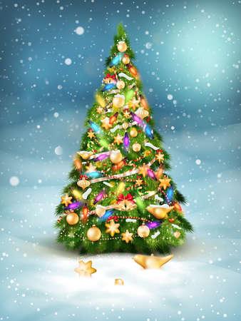 christmas landscape: Christmas fir tree on winter landscape.