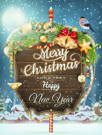 Wooden banner with Christmas Fur-tree branches. EPS 10 vector file included Vector