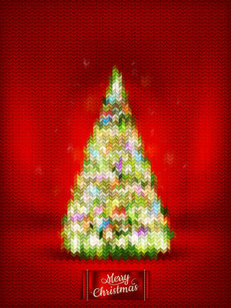 stockinet: Christmas label on a knitted background.