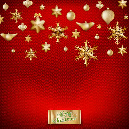 stockinet: Christmas knitted red background with decorations and label.  Illustration