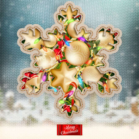 stockinet: Christmas knitted holidays background with decorations and label.      Illustration