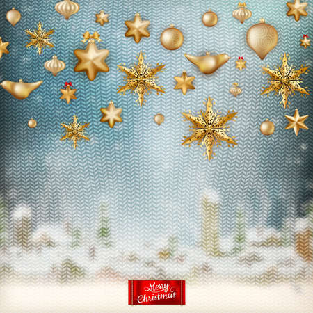 stockinet: Christmas knitted holidays background with decorations and label.