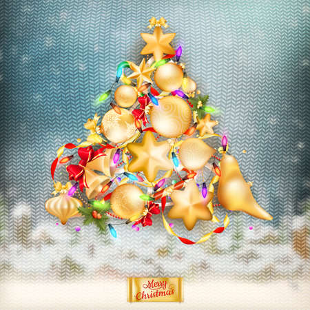 stockinet: Christmas knitted holidays background with decorations and label Illustration