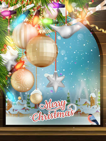 Christmas Theme - Window with a kind on winter village Vector
