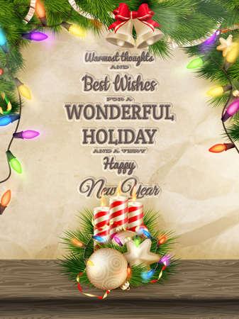 velas de navidad: Las velas y adornos de Navidad en el papel arrugado