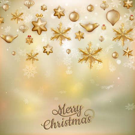 dof: Gold Christmas baubles background of defocused golden lights. Shallow DOF.