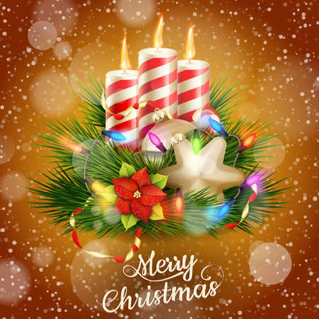 Candles and Christmas ornaments on snow background.  Vector