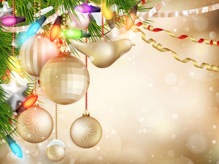 stilllife: Gold Christmas background of de-focused lights with decorated tree.