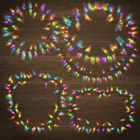 festoon: Set of Glowing Christmas Garland made of lights on wooden background. EPS 10 vector file included