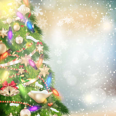 Christmas background of de-focused lights with decorated tree. EPS 10 vector file included Illustration