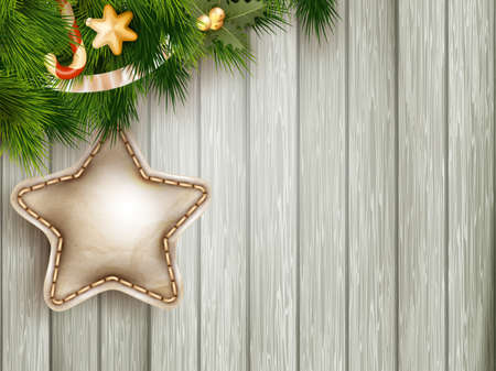 celebrate year: Christmas decoration with fir branches on white wood board. EPS 10 vector file included