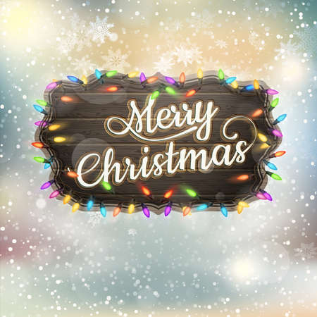 christmas scene: Christmas greeting Calligraphy - Vintage Signboard. EPS 10 vector file included