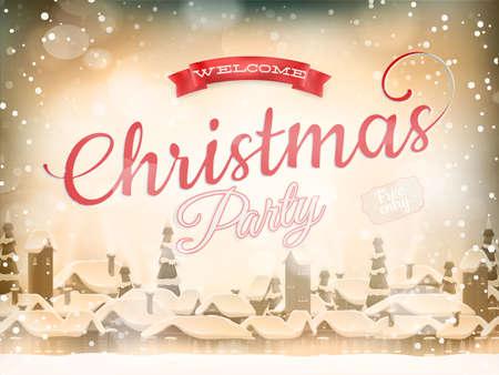 christmas landscape: Christmas landscape Poster.   Illustration