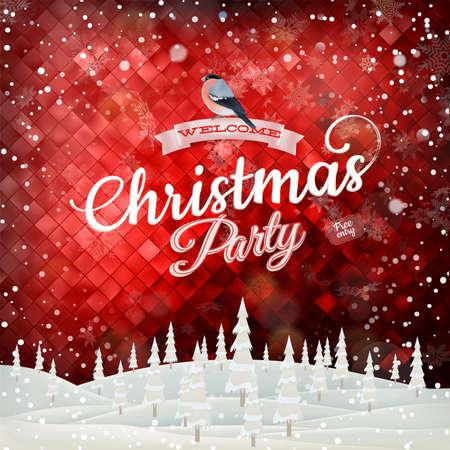 christmas bird: Christmas abstract landscape. Illustration