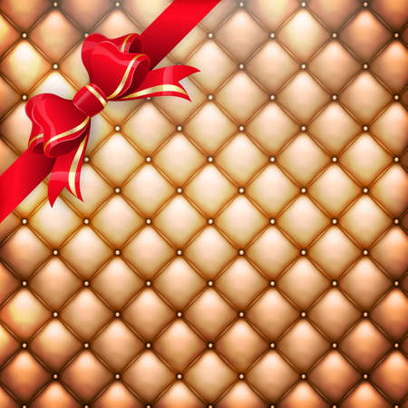 Illustration of golden realistic upholstery leather pattern background with red gift bow.  Vector