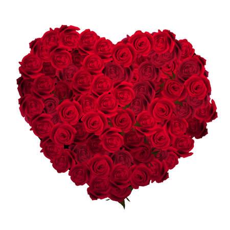 Valentines Day Herz aus roten Rosen auf weißen Hintergrund. Standard-Bild - 34154828