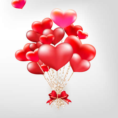 14 february: Elegant Valentines day heart balloons background.