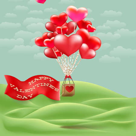 Heart-shaped hot air balloon taking off. EPS 10 vector file included Illustration