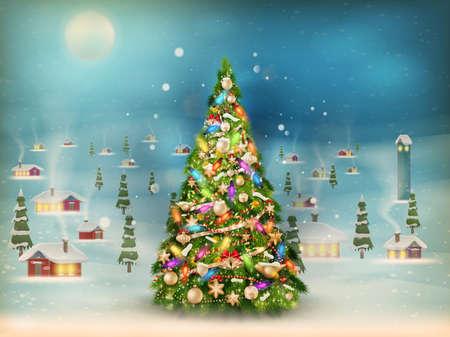 Christmas scene, snowfall covered little village with tree.   Illustration