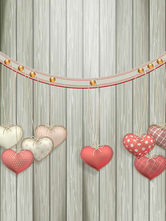 vector hearts: Red hearts hanging over old wood background. EPS 10 vector file included