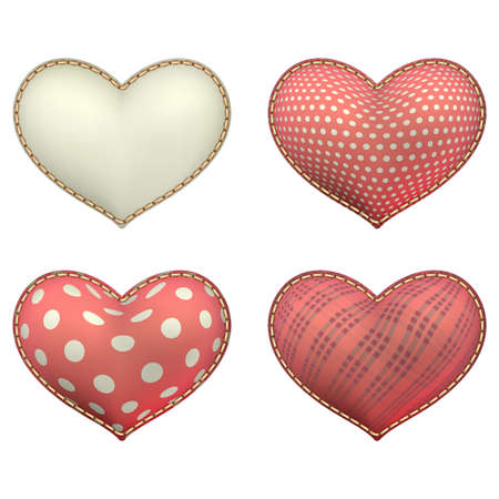 soft object: Red heart-shaped soft toy set isolated on white.  Illustration