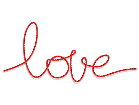 clew: Bright red yarn in the shape of a word - love. EPS 10 vector file included Illustration