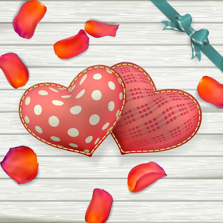 rose petals: Heart shaped Valentines Day toys on old vintage wooden plates. Holiday background with rose petals. EPS 10 vector file included