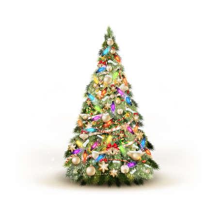 Árbol de navidad aislado en el fondo blanco. Ilustración de vector