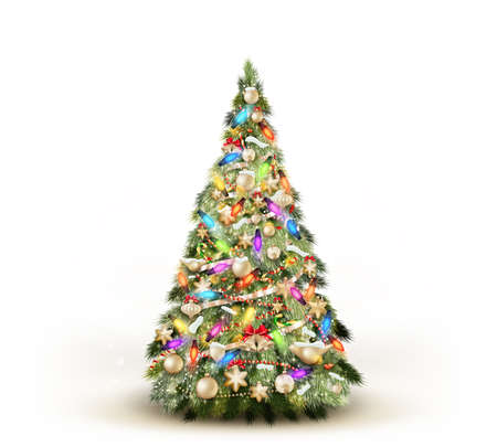 Arbre de Noël isolé sur fond blanc. Vecteurs
