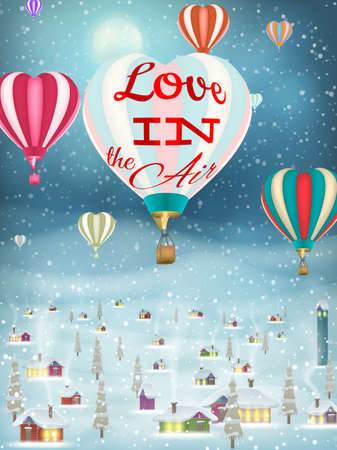 immagination: Bright balloon flying over Village.