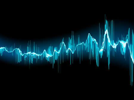 sonido: Onda de sonido brillante sobre un fondo azul oscuro. Archivo EPS 10 vector incluido